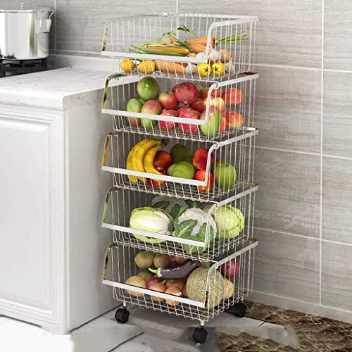 KJRJHT 4 Tier Metalldrahtkörbe -Wall Storage Basket Organizer mit Rad for Küche, Obst, Gemüse, Körperpflege, Multi-Funktions-Pulley Storage Basket Wagen (Size : 5 Layers)