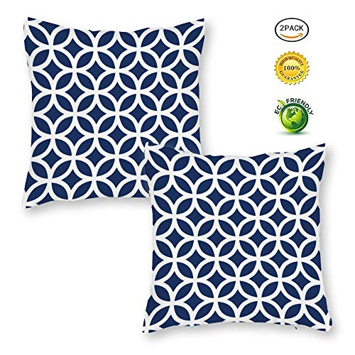 BYRON HOYLE Pack of 2 Modern Circle Rings Navy Blue Home Decorative Throw Pillow Cover Cotton Farmhouse Geometric Trellis Cushion Cover Square for Sofa Bed Couch Car 18x18 Inches