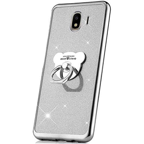 JAWSEU Funda Brillante Brillo Compatible con Samsung Galaxy J4 2018, Carcasa Bling Glitter Suave TPU Silicona Gel Bumper con Anillo Ultra Delgado Antigolpes Enchapado Borde Protectora Funda,Plata