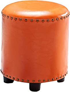 SZQL Footstool,Handmade Leather Decorative Seat Indoor Outdoor Bean Bag- Orange