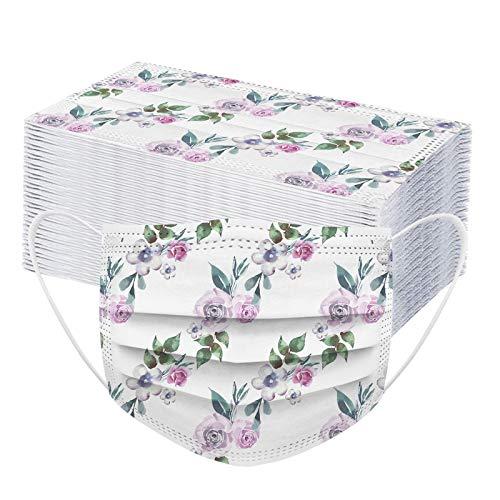 Kuailema 50 Stück Unisex-Zahnschutz für Erwachsene, Blumenturban, Schal, Außenschutzwerkzeug, Mund- und Nasenschutzhülle können Nicht wiederverwendet Werden