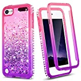 iPod Touch 7th 6th 5th Generation Case, Ruky iPod Touch 7 6 5 Glitter Full Body Case with Built-in Screen Protector Bling Liquid Floating Shockproof Girls Case for iPod Touch 5 6 7, Pink Purple