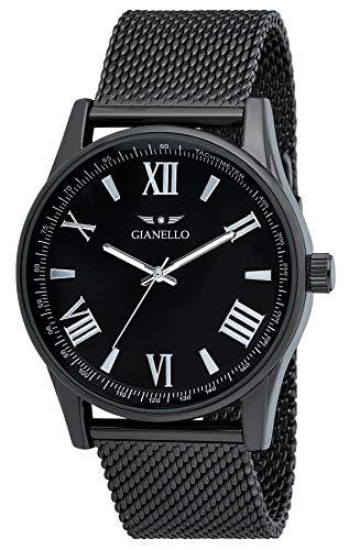 Gianello Mens GNL7710GN Black Mesh 42mm Tachymeter Bezel Watch