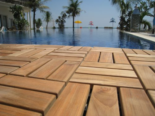 "Bare Decor BARE-WF2009 Solid Teak Wood Interlocking Flooring Tiles (Pack of 10), 12"" x 12"