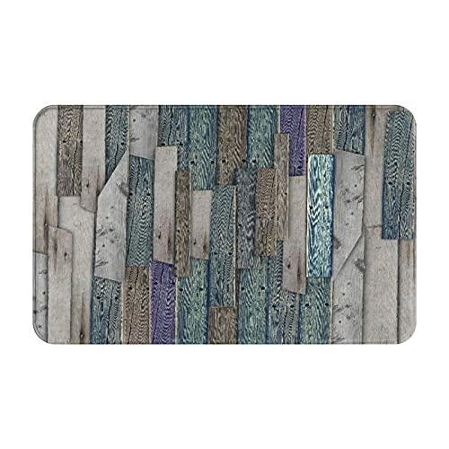 CONICIXI Fußmatte innen rutschfeste Schmutzfangmatte Waschbar Türmatte Rustikales Bild von blau grau Grunge Holzplanken Scheune Haus Türnägel Country Life Theme Print für...