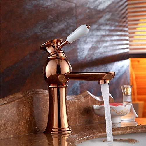 Baño Fregadero Vaso Grifo Lavabo Grifos Mezclador Grifo para lavabo Oro rosa Retro Latón Cerámica blanca Palanca simple Válvula de cerámica de 1 orificio Agua fría y caliente Grifo para lavabo de una
