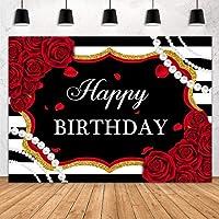 GooEoo 7x5フィート赤いバラ黒白い縞模様の花の女の子の誕生日用品ケーキテーブルバナー写真撮影ブーススタジオ小道具家族のパーティーの誕生日の背景ベビーシャワーの装飾ビニール素材