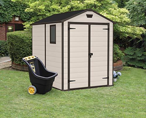 Keter Manor Outdoor Plastic Garden Storage Shed, Beige, 6 x 8 ft Garden Storage & Housing