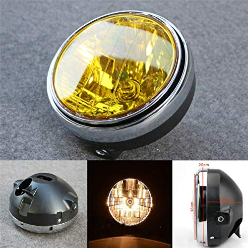 ETbotu Motorfiets koplamp Honda CB 7 inch 35W Universal Motorfiets koplamp geel transparant met Rotonda LED-lens