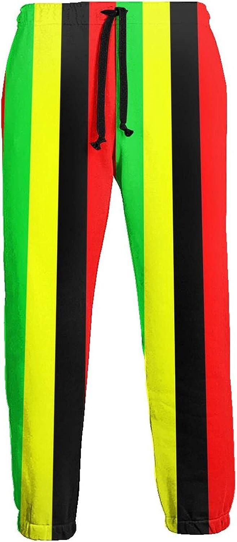 KAWAHATA Rasta Jamaica Raggae Men's Pants with Pockets Tapered Athletic Sweatpants 3D Casual Active Sports Pants