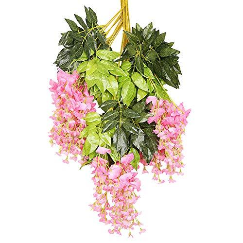 HotYou Set de 12 Plantas Artificiales Glicinias Seda Colgante para Decoración Enredadera Flores Colgantes Jardín para Comedor Salón Fiesta Boda,Pink 2,12 Piezas/1 Paquete