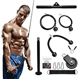 DYNASQUARE LAT and Lift Pulley System, Cable Attachments with Loading Pin, Tricep Rope, Dual Cable Machine(70'' and 90''), Pull Down Bar,for Triceps Pull Down, Biceps Curl,Home Gym