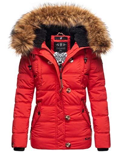Navahoo warme Damen Winter Stepp Jacke Teddyfell Winterjacke Parka Mantel B831 [B831-Zoj-Rot-Gr.XS]