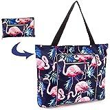 Women Beach Tote Utility Bag with Zipper, Flamingo Foldable Cute Large Swim pool Waterproof Bag for Travel, Gym, yoga, Mom in Law Female Friend Sister Wife Girlfriend Good Gift