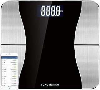 HJTLK Báscula de baño Digital, báscula Báscula Inteligente de Bluetooth, Báscula de Peso precisa LED Pantalla HD Báscula de Salud Báscula de baño, 180 kg / 400 LB Negro
