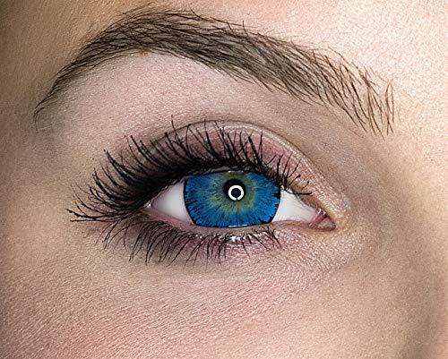 Kontaktlinsen farbig ohne Stärke farbige Jahreslinsen weiche Linsen soft Hydrogel 2 Stück Farblinsen + Linsenbehälter 0.0 Dioptrien natürliche Farben Serie Glitter Blue (blau)