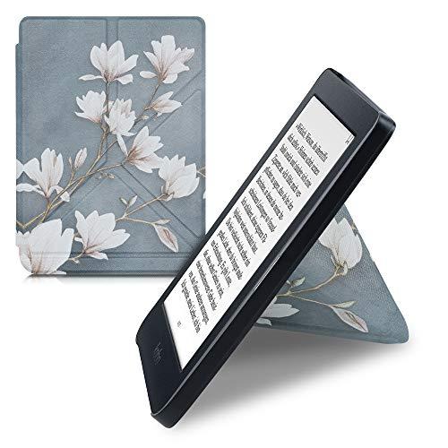 kwmobile Carcasa Compatible con Kobo Nia - Funda magnética de Origami para e-Book - Magnolias marrón Topo Blanco Gris Azulado