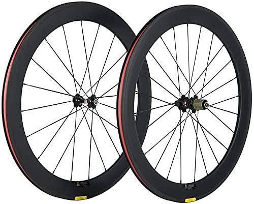 LILAODA 700c carbono Clincher 60mm Road Bike Ruedas acabado mate 23mm ancho perfecto