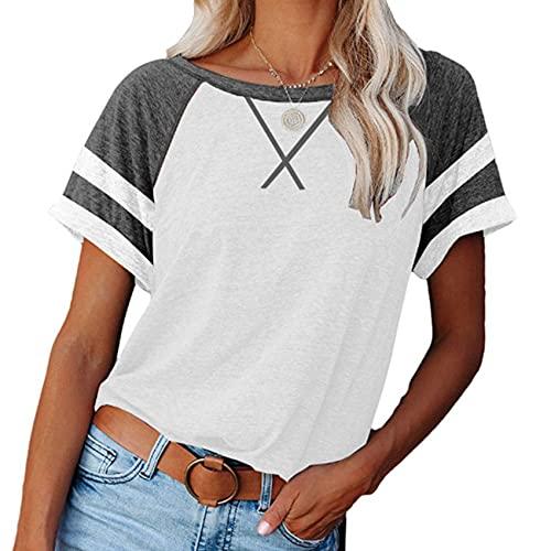 Nueva Primavera y Verano Blusa Suelta Cruzada con Bloqueo de Color para Mujer, Camiseta Informal de Manga Corta, Camisa con Cuello Redondo y Fondo