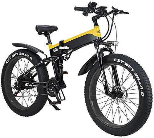"""Bicicletta Elettrica 26\"""" bici di montagna elettrica pieghevole for adulti, 500W Watt motore 21/7 costi Maiusc bici elettrica for la corsa Città Commuting Outdoor Ciclismo Work Out ( Color : Yellow )"""