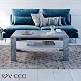 VICCO Couchtisch Beton Weiß 100 x 60 cm Wohnzimmertisch Beistelltisch Sofatisch Kaffeetisch - 5
