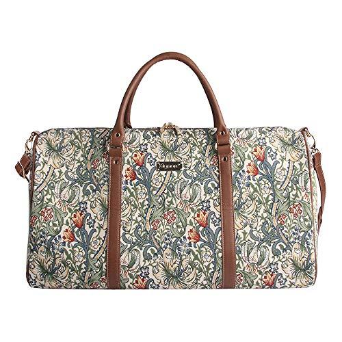 Signare Gobelin-Gepäcktasche für Reisen und Sport/große Reisetasche für Damen Sporttasche Damen mit William Morris Designs (Goldene Lilie)
