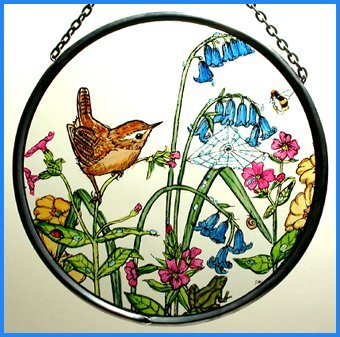 Decorative Hand Painted Stained Glass Window Sun Catcher/Roundel in a Wren in Bluebells Design.