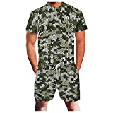 Xmiral T-Shirt Top Camicetta Camicie Pantaloncini Pantaloni Completi Tuta Sportiva Tuta a Due Pezzi Uomo Estate Tempo Libero Sport 3D Geometrica Astratta Fitness Running (3XL,9army Green)