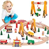 Lebze Toy Train Set for Toddlers - 55 Pieces Wooden Train Set Track & Exclusive Crane & Trains Pack Fits Thomas, Brio, Chuggington, Melissa - Kids Friendly Building Toys for 3+ Years Old Girls & Boys