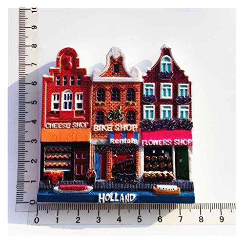 Gzjdtkj Imán de refrigerador Ámsterdam Países Bajos Frigorífico Imán De Recuerdos 3D Resina Holanda Refrigerador Pegatina Decoración Cultura Folk Craft Regalos Ideas (Color : Holland 1)