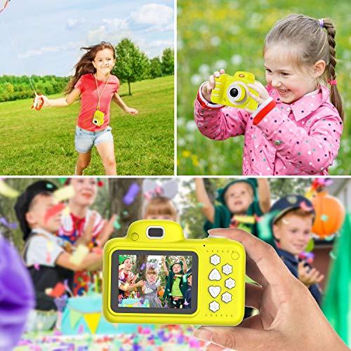 Kinder Digital Mini Kamera, Vannico Selfie Photo Kids Camera HD Kinderkamera 8 Megapixel, Wiederaufladbar Actionkameras Camcorder für Mädchen Jungen mit 16G SD Karte (Gelb)