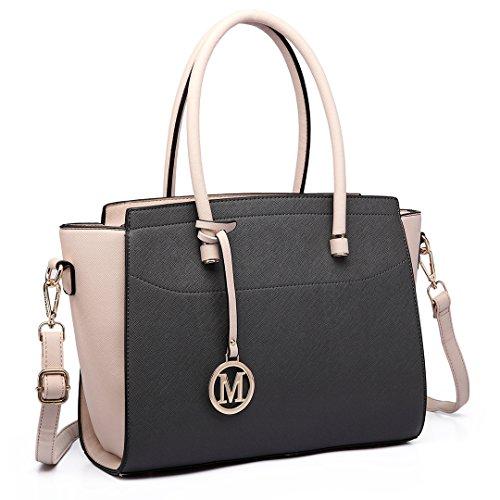 Miss Lulu Borsa donna alla moda Borsa a mano grande Borsa a tracolla elegante borsa messenger (nero/beige)