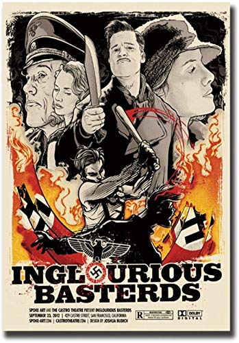 Refosian Bastardi Senza Gloria Movie Art Poster Stampa Immagini su Tela Soggiorno Immagini della Stanza Decorazioni per la casa-50x75cm Senza Cornice
