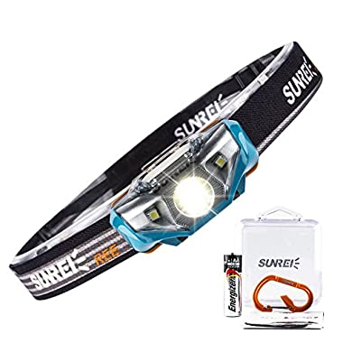 SUNREE Lightest Ultra Bright Portable LED Headlamp (Only 2.3Oz.),7 Lighting Modes,IPX6 Waterproof,Best Headlight for Camping,Running,Hiking and Kids,1AA baterry included (Blue)
