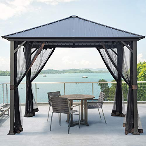 AsterOutdoor 10x10 Outdoor Hardtop Gazebo for Patios Galvanized Steel Canopy for Shade and Rain with Mosquito Netting, Metal Frame for Lawn, Backyard and Deck 99% UV Rays Block, Black