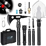 Wilbest Survival Shovel Axe, Camping Shovel Multitool High-Carbon Steel Tactical Shovel Axe -180°Degree Folding, 4 Thicken Extension Handles 20-39.5 Inch Survival Gear and Equipment for Hiking Camping