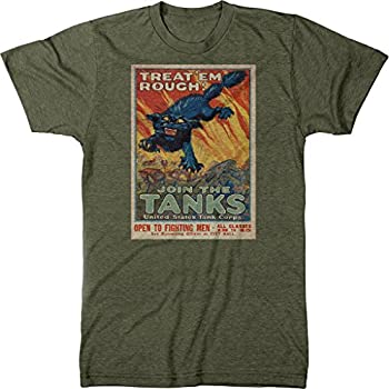 US Tank Corps Treat  Em Rough Recruiting Poster Men s Modern Fit Tri-Blend T-Shirt  Military Green XX-Large