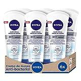 NIVEA Crema de Manos 3in1 Care & Protect Antibacterial en pack de 6 (6 x 100 ml), crema nutritiva para proteger de la sequedad, crema protectora con aceite de jojoba