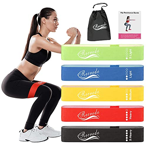 Recredo Booty Bands for Working Out, Resistance Bands for Women Butt and Legs, Exercise Bands Workout Bands - Non Slip Elastic Resistance Loops Hip Thigh Glute Bands - Set of 5
