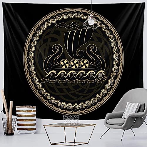 PPOU Tapiz de decoración del hogar de meditación de energía Espiritual vikinga, Tapiz de brujería, Manta Bohemia Hippie, Tela Colgante A2 150x200cm