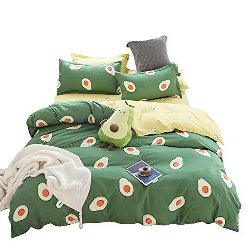 BeddingWish Cartoon Printed Green Avocado Bedding Hidden Zipper Reversible Kids Duvet Cover Sets-Twin (3Pcs)