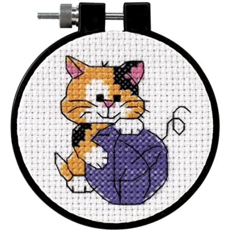 "DIMENSIONS 73038 Cute Kitten Counted Cross Stitch Kit for Beginners, 3"" D"