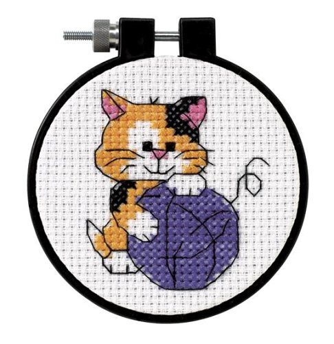 DIMENSIONS 73038 Cute Kitten Counted Cross Stitch Kit for Beginners, 3' D