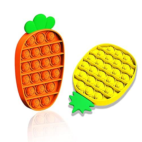 SVNVIOZ Push Pop Bubble Sensory Fidget Toy, Autism Special Needs Stress Reliever Silicone Stress Reliever, Pop Fidget Toy for Kids with ADD, ADHD or Autism (Pineapple & Carrot)