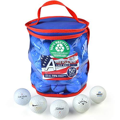 Second Chance 50 Lake Golfbälle und PVC Aufbewahrungstasche, roter und Blauer PVC Bag