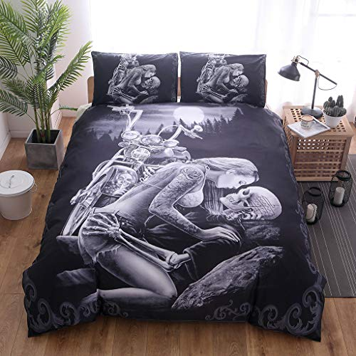 Zzh 3 Pieces Motorcycle & Beauty & Skull Bedspread with Pillowcase, 3D Printed Bedding Set King Duvet Cover Bedding Bedspread For Adult Boys Quilt Cover,175 * 230cm