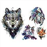 Tatouages temporaire animaux multicolore loup renard cheval chat - pour homme et femme tatouage...