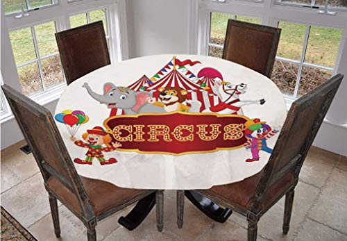 Circus Decor Round Tablecloth,Cute Happy Fun Trained Circus Animals with Nostalgic Tent Carnival Party Show Art Polyester Indoor Outdoor Tablecloth,70 Inch,for Kitchen Dinning Tabletop Decoration Red
