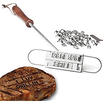 Harlov Enhanced BBQ Meat Branding Iron with Changeable Letters and a Handy Draw-String Carry Bag and Plastic Letter Case - Great for Branding Steaks, Burgers, Chicken with Your Name; Labor Day Gift