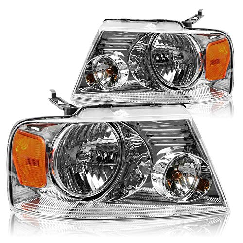 Chrome Headlight Assembly Set Compatible with 2004-2008 Ford F-150/06-08 Lincoln Mark LT Headlamp Replacement Passenger and Driver Side Front Light (Chrome)